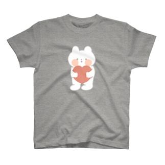 ハートだっこのくまねこ T-shirts