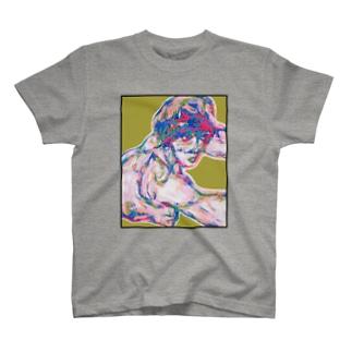シーレのヌードデッサン金 T-shirts