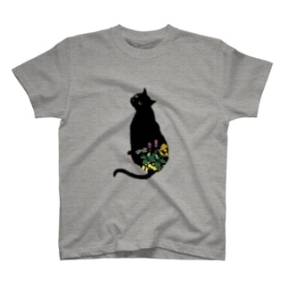 花と黒猫 T-shirts