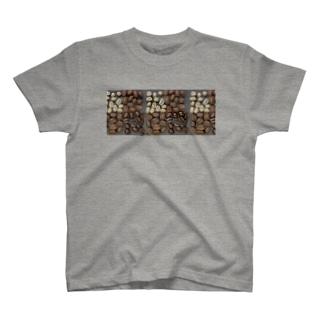 コーヒー豆チェック柄 T-shirts
