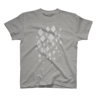 津軽こぎん刺し模様『snow modoco』グレー T-shirts