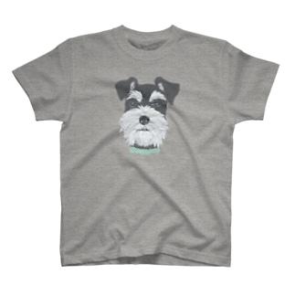 シュナウザー (ブラック・シルバー) T-shirts