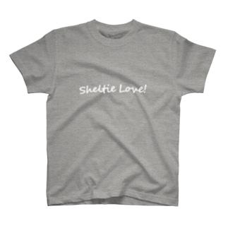 Sheltie Love! 白文字 T-shirts