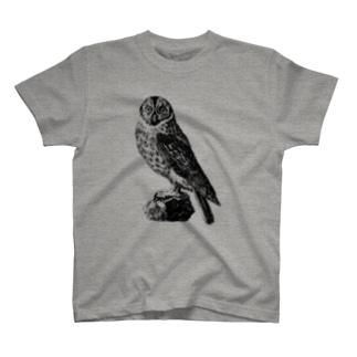 古書 天牛書店のフクロウ <アンティーク・プリント> T-Shirt
