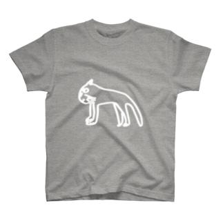 狩りをする真剣な横顔のねこ。(濃い色用の白線) T-shirts