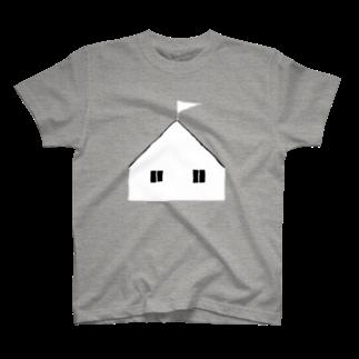 明季 aki_ishibashiの海沿いの丘の家Tシャツ T-shirts