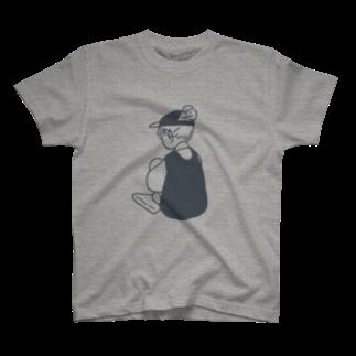 百瀬たろうのうしろすがた(ネイビー) T-shirts