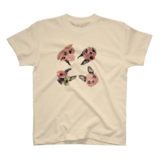 葉っぱ仮面ボストンテリア Tシャツ