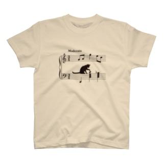 ネコ、音符にイタズラver.2 (TS) Tシャツ