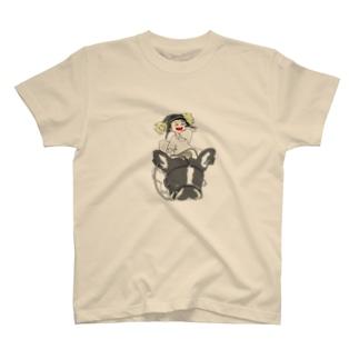犬と少女 Tシャツ