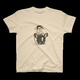 ★いろえんぴつ★の犬と少女 Tシャツ