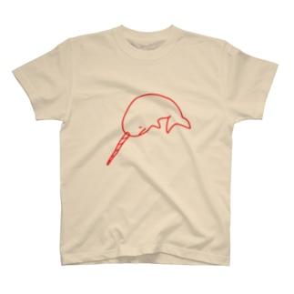 イッカクのジュウちゃん 赤 T-shirts