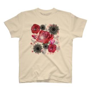 キラキラ花black T-shirts