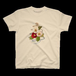 ヤマノナガメのcamellia T-shirts