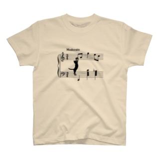 ネコ、音符にジャンプ!(TS) T-shirts
