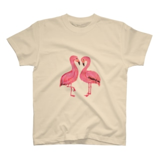 ハートのフラミンゴ T-shirts