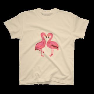 くろすけのハートのフラミンゴ Tシャツ
