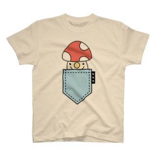 ポケットinきのこ(blue) T-shirts