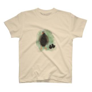 いきものイラスト(ヤンバルクイナの親子) T-shirts