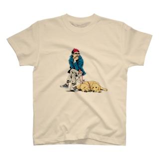 おじさんと犬(ゴールデンレトリバー) T-shirts