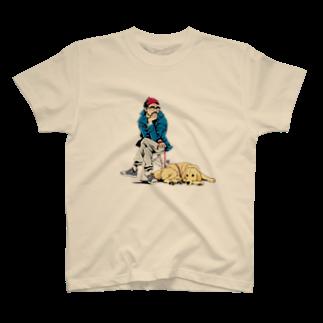 村田ポコのおじさんと犬(ゴールデンレトリバー) T-shirts