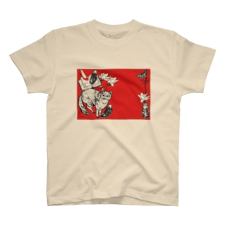 Retoro Japanese red Fox stationery T-shirts