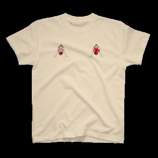 ぽωずのGIRLs on BUTTON T-shirts