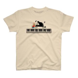 ピアノ弾けちゃううさぎさん T-shirts