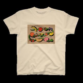unpisのA SNAKE AND FRUITS T-shirts