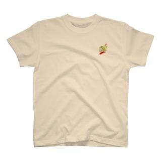 黄緑色の髪の髪留めをつけた少女(イラスト 女の子 色鉛筆)ふっふ T-shirts