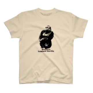 体育座りゴリラ T-shirts