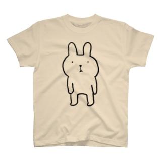 ふつウサ直立 T-shirts