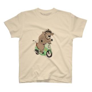 原チャリぶんぶんブラウンスイス牛さん T-shirts