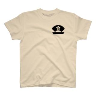 梅に地紙・黒(家紋) T-shirts