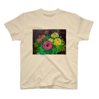 油彩-花-(横) T-shirts