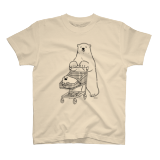 恋するシロクマ公式のTシャツ(ショッピン グ/ 黒ライン) T-shirts