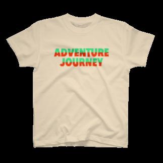 ADVENTUREJOURNEYのTROPICALBIGLOGOT🐠-グリーン×オレンジ T-shirts