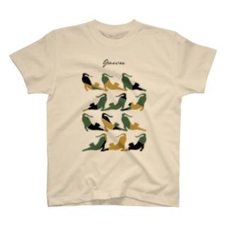 Yawn/あくび猫シルエット T-shirts