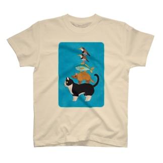 どうぶつブレーメンの音楽隊 北欧ブルー T-shirts