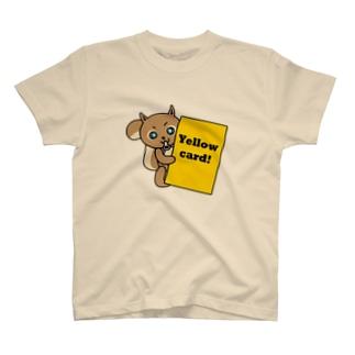 森のどうぶつサッカーshopの小さな子リスの審判(イエローカード) T-shirts