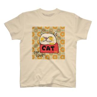 ねこのリラックス レトロ T-shirts