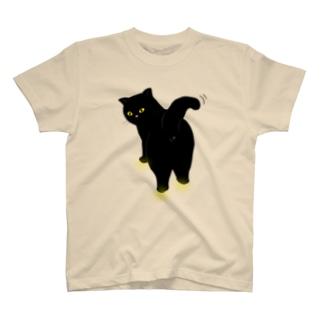 振り返るニャンコ2 クロネコバージョン T-shirts