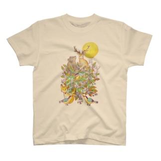 満月の夜〜一枚の葉〜 T-shirts