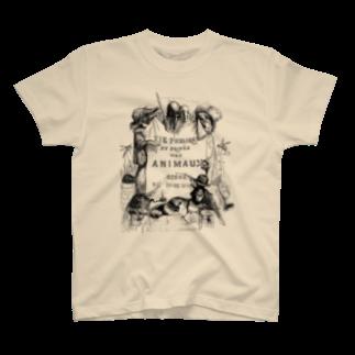 古書 天牛書店のグランヴィル「動物たちの私生活・公生活」扉絵 <アンティーク・プリント> T-shirts