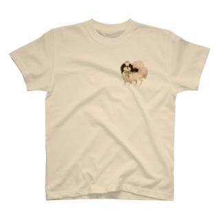 ヤマネコ。の部屋の狆 ブルーリボン T-shirts