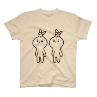 みつあみしたい うさぎ モノクロ T-shirts