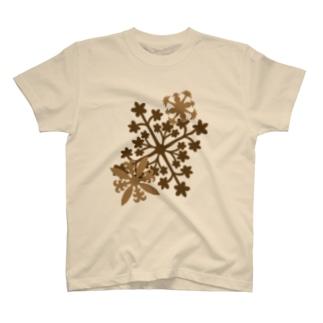 ハワイアンキルト柄 セピアカラー T-shirts