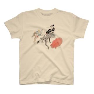百鬼夜行絵巻 赤く丸い妖怪・三つ目の妖怪・木槌を持った妖怪・槍を持った妖怪【絵巻物・妖怪・かわいい】 T-shirts