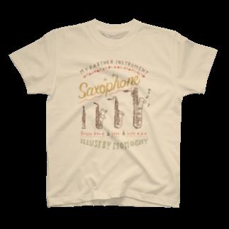 *momochy shop*のサックスとうさぎ T-shirts