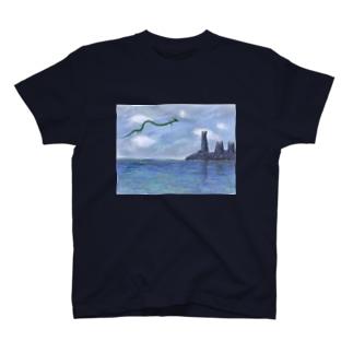 絵画「竜と塔と湖」 Tシャツ